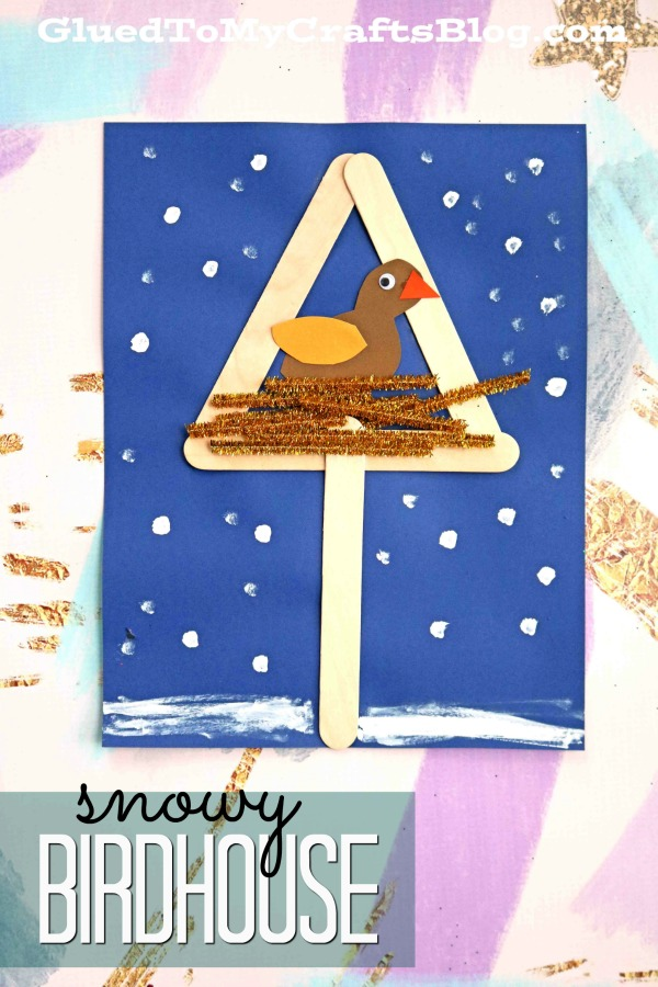 Mixed Media Snowy Birdhouse - Kid Craft