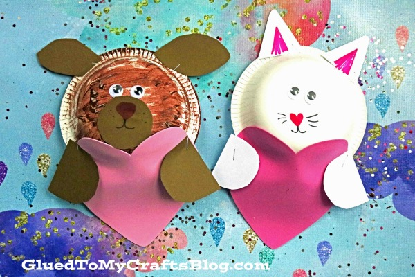 Paper Bowl Valentine Puppy and Kitty - Kid Craft