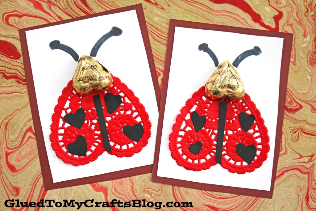 Paper Doily and Chocolate Ladybug Valentines