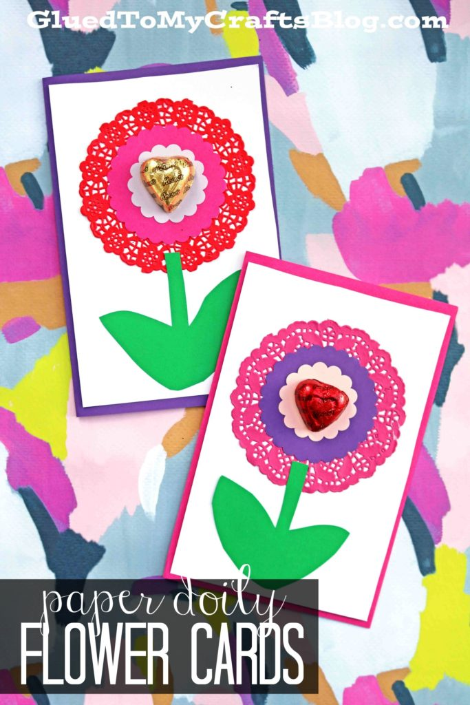 Paper Doily Flower Valentine Cards For Kids To Recreate