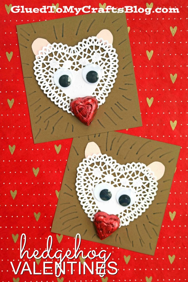 Paper Heart Doily Hedgehog Valentines