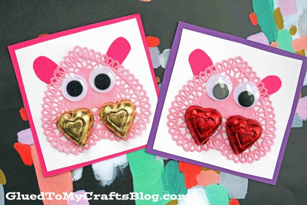 Handmade Paper Doily Hippo Valentines - Kid Craft