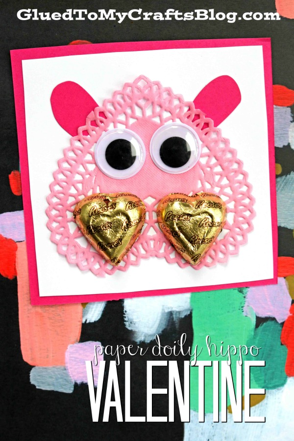 Paper Doily Hippo Valentines For Kids To DIY Today!
