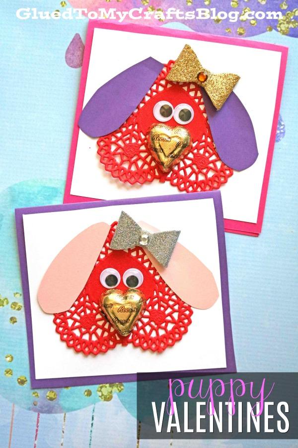 Paper Doily Puppy Valentines - Kid Craft Idea