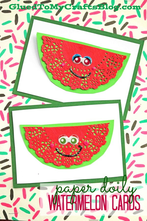 Paper Doily Watermelon Cards - DIY Craft Idea For Valentine's Day