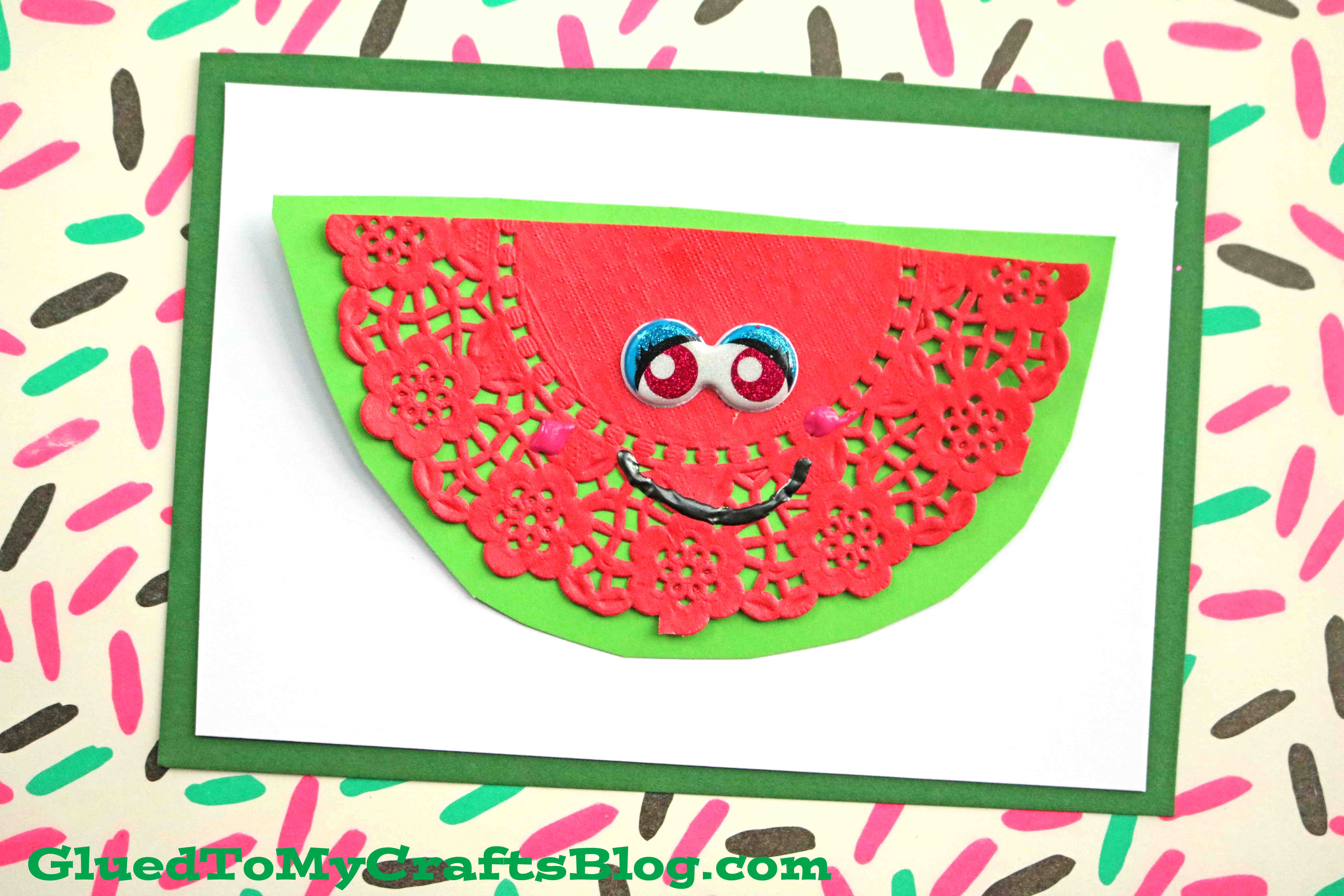 Creative paper doily watermelon cards diy craft glued to my crafts jeuxipadfo Images