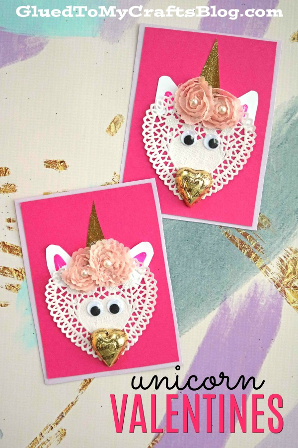 DIY Paper Doily Unicorn Valentines w/Chocolate Noses