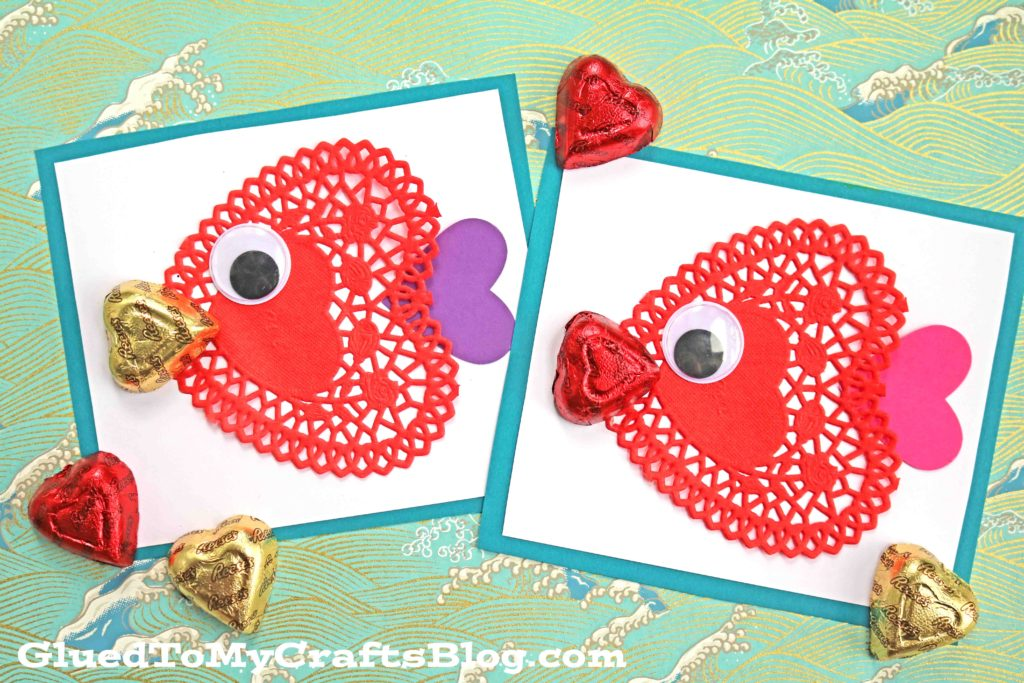DIY Paper Doily Fish Valentine's Day Cards