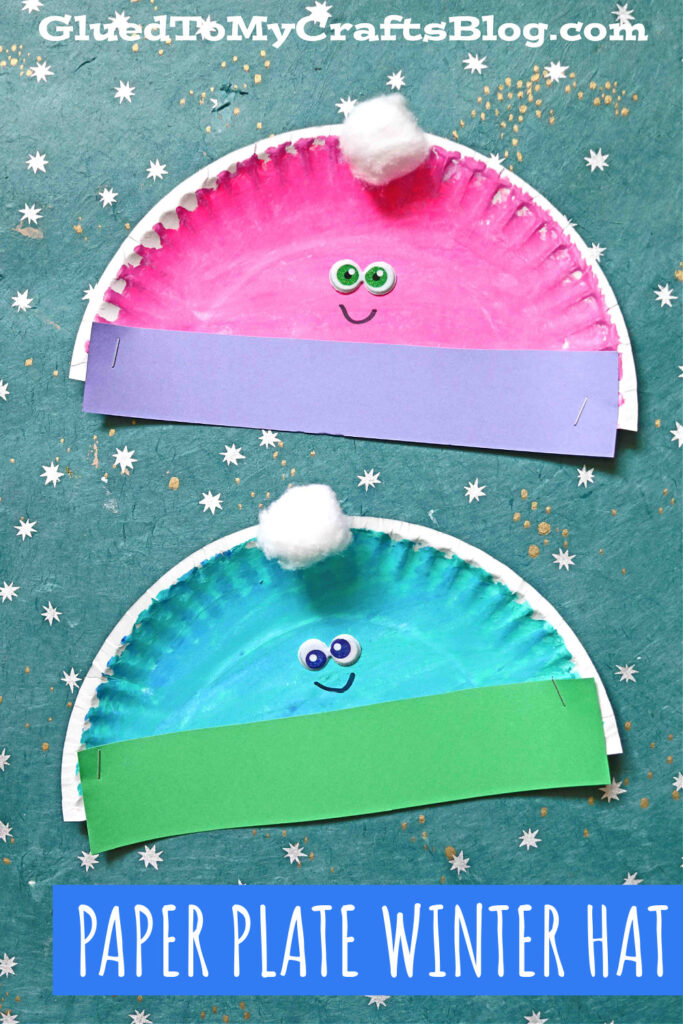 Smiling Paper Plate Winter Hat Friends - Kid Craft