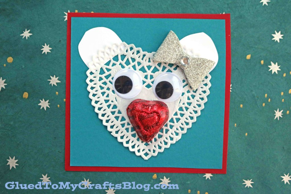 White Heart Doily Polar Bear Valentine Card