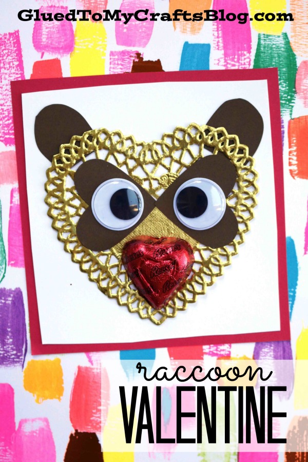 DIY Paper Doily Heart Raccoon Valentine Card