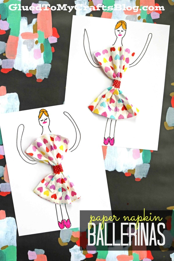 Paper Napkin Valentine Ballerina - Kid Craft Idea