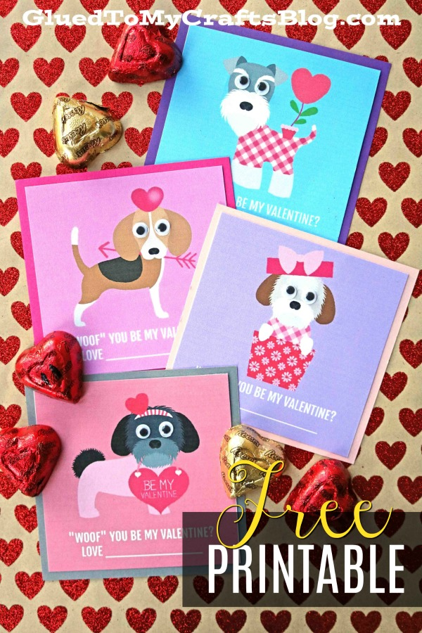 """Woof"" You Be My Valentine - Gift Tag Printable"