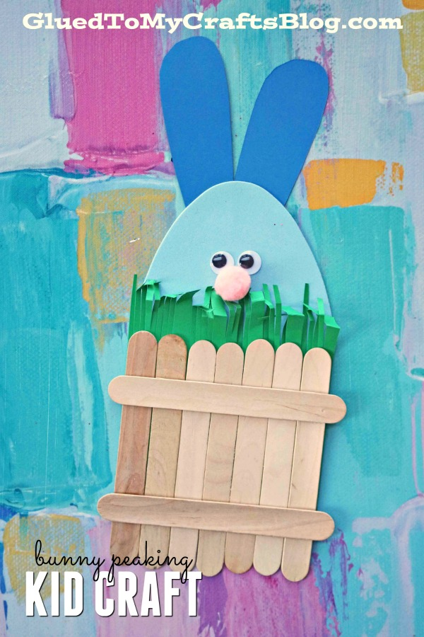Easter Bunny Hiding Behind Popsicle Stick Fence - Kid Craft