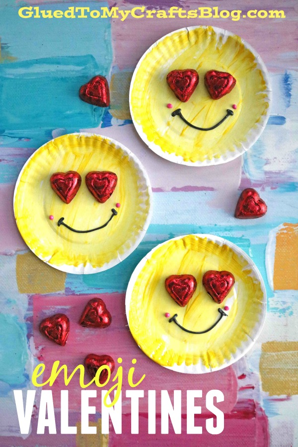Paper Plate Emoji Valentines - Kid Craft Idea