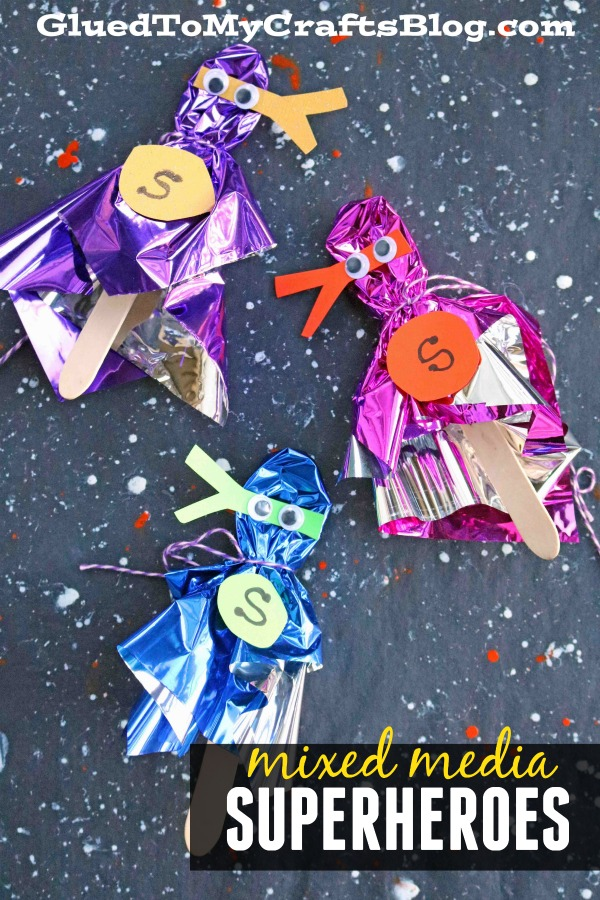 Mixed Media Foil Wrapped Superhero Puppets - Kid Craft