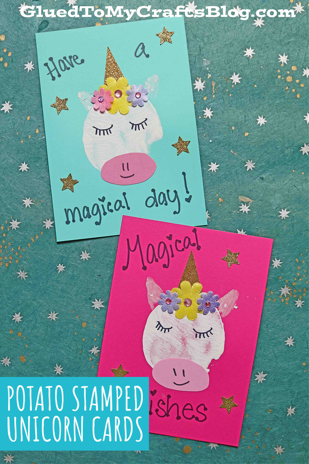 Potato Stamped Unicorn Cards For Kids To Recreate Today!