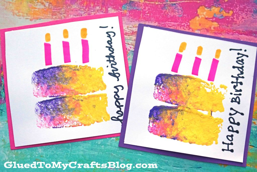 Sponge Painted Birthday Cake Cards - Craft Idea For Older Kids
