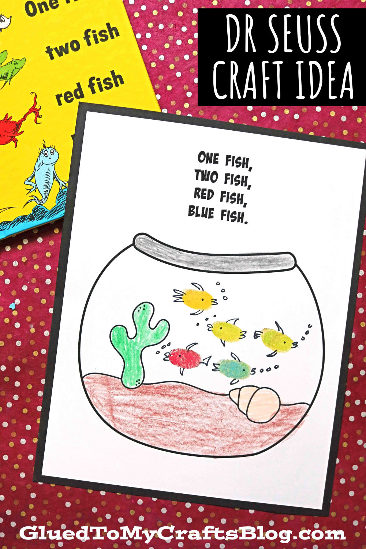 One Fish, Two Fish - Thumbprint Dr Seuss Kid Craft Idea