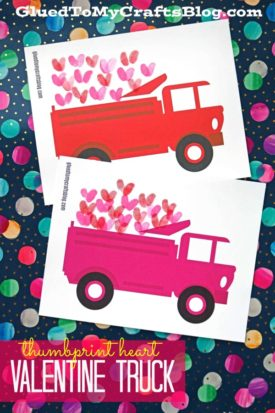 Thumbprint Hearts in Valentine Truck - Free Printable