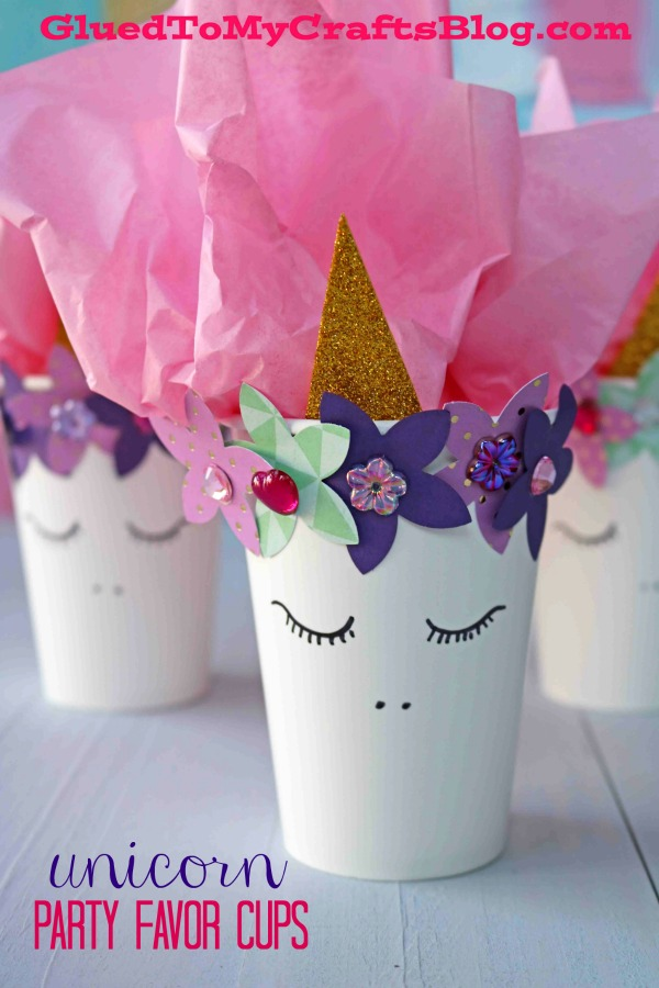 DIY Unicorn Cup Party Favor Holders For Valentine's Day