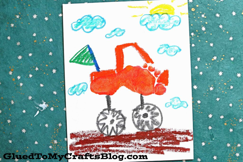 Footprint Monster Truck Keepsake Canvas - Kid Craft Idea