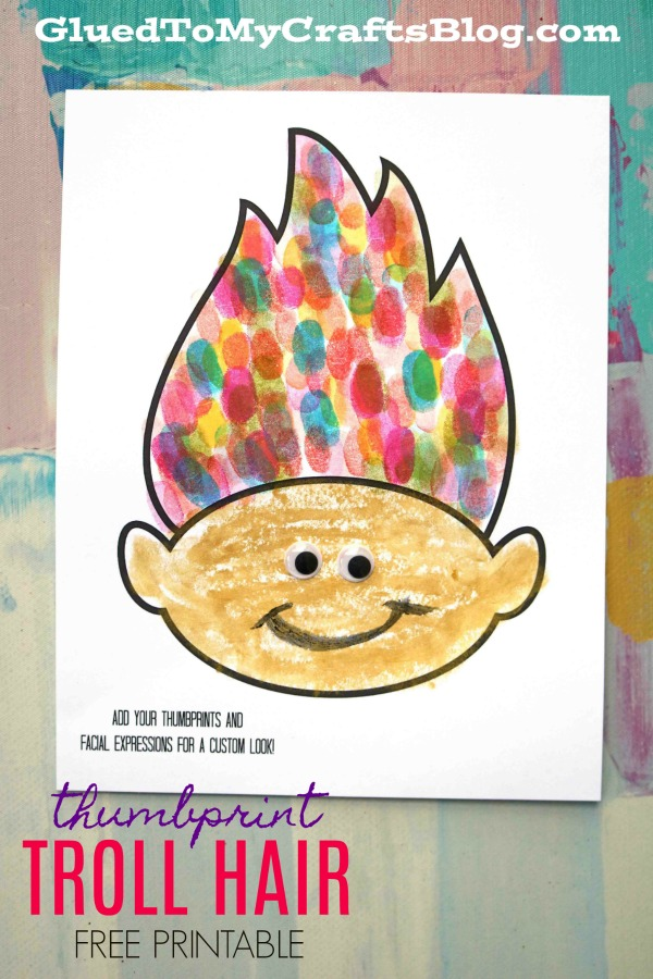Colorful Thumbprint Troll Hair - Kid Craft w/free printable