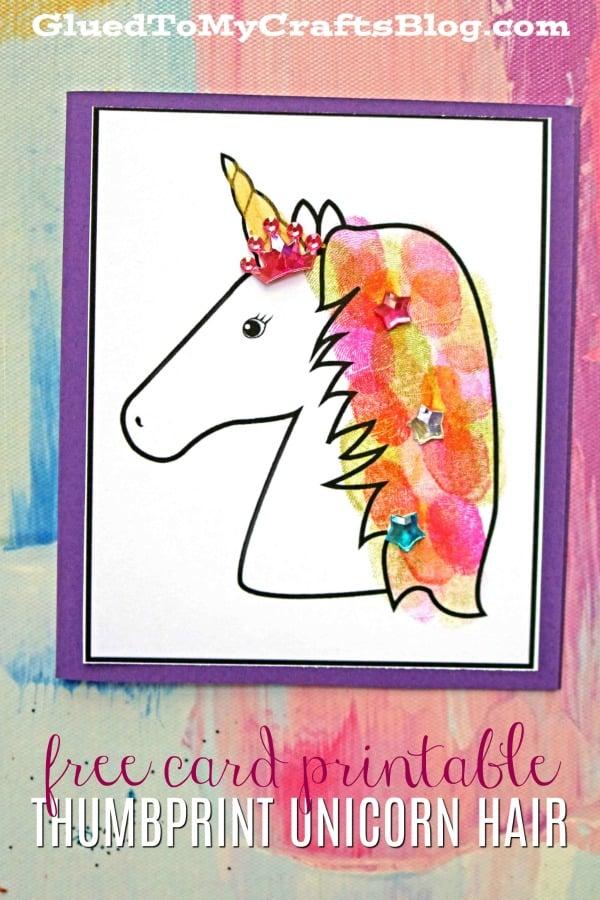 Thumbprint Unicorn Hair Cards - Free Printable