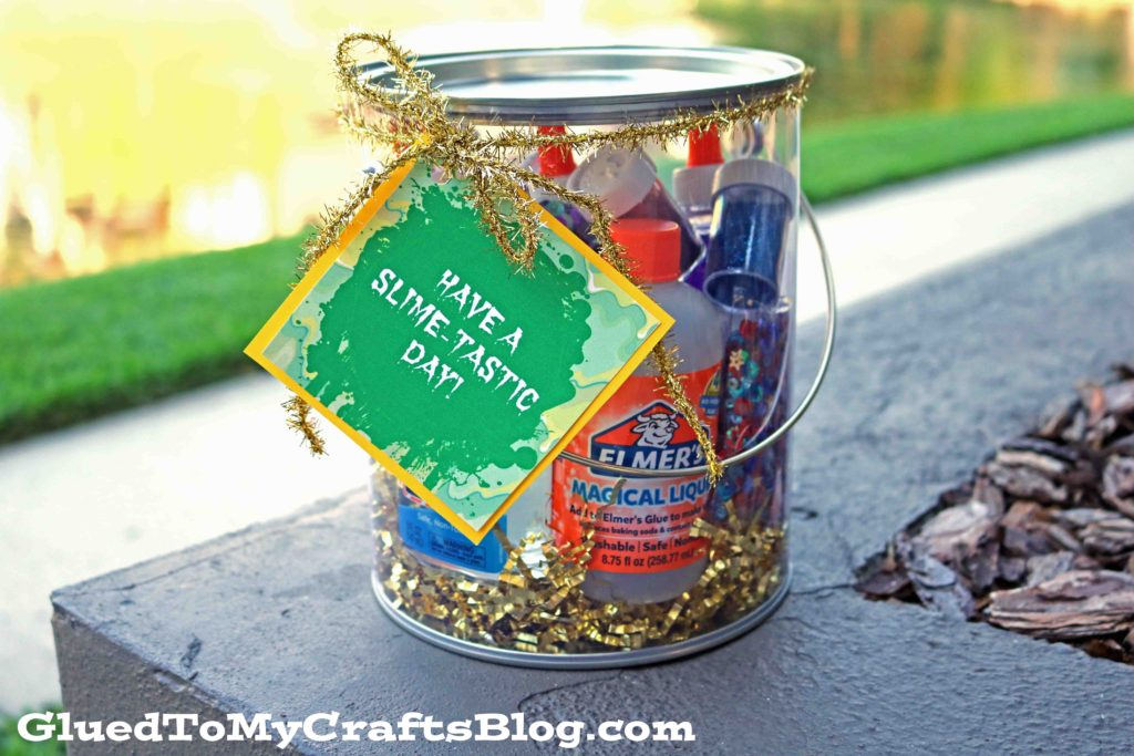 Slime Bucket Gift Idea - Free Gift Tag Printable