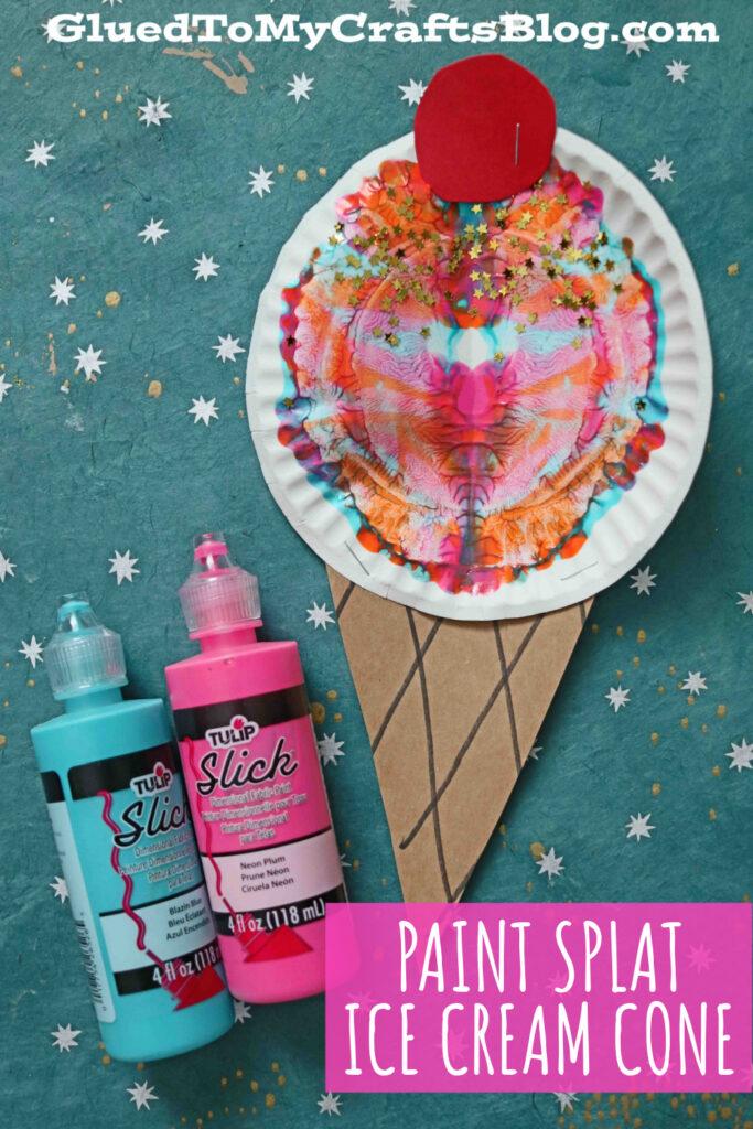 Paint Splat Ice Cream Cones - Kid Craft Idea For Summer