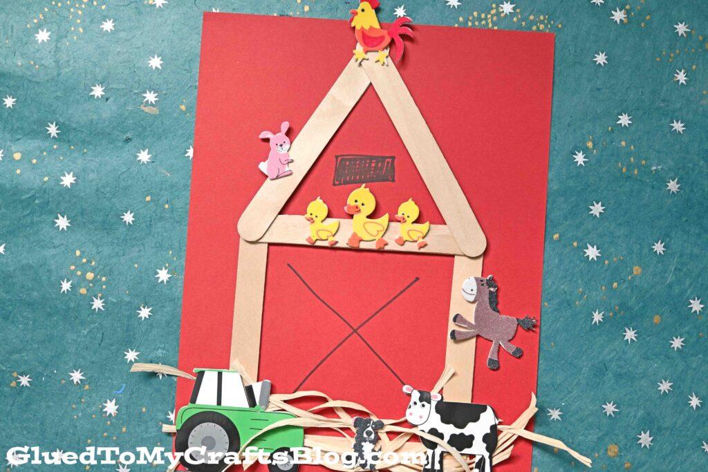 Mixed Media Popsicle Stick Barn - Old MacDonald Kid Craft