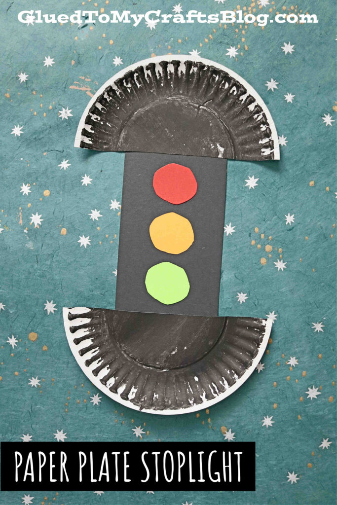 Paper Plate Traffic Stoplight - Transportation Kid Craft Idea