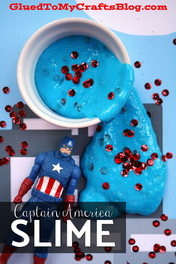 Captain America Inspired Slime Made With Elmer's Glue