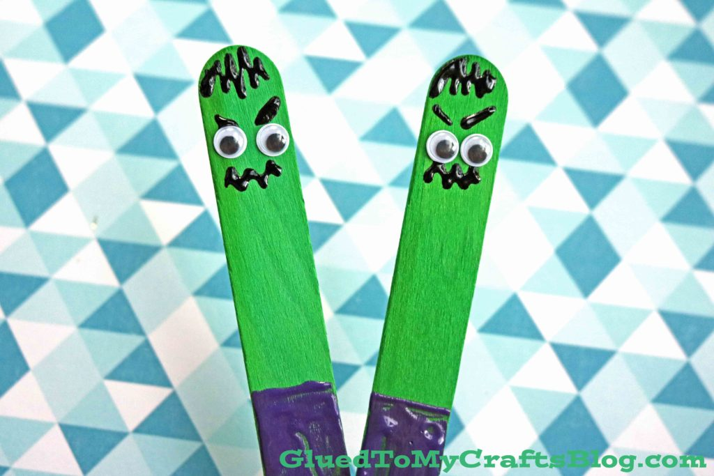 Craft Stick Hulk Puppet - Kid Craft