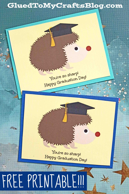 "Hedgehog ""Looking Sharp"" Graduation Card Printable"