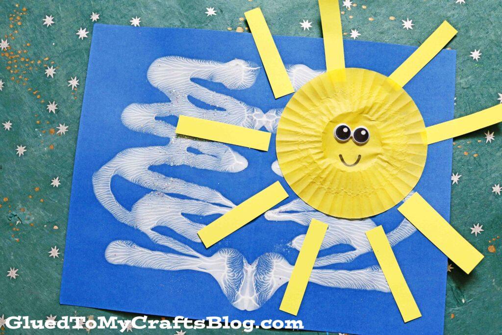 Mixed Media Paint Splat Sunny Day - Kid Craft Idea