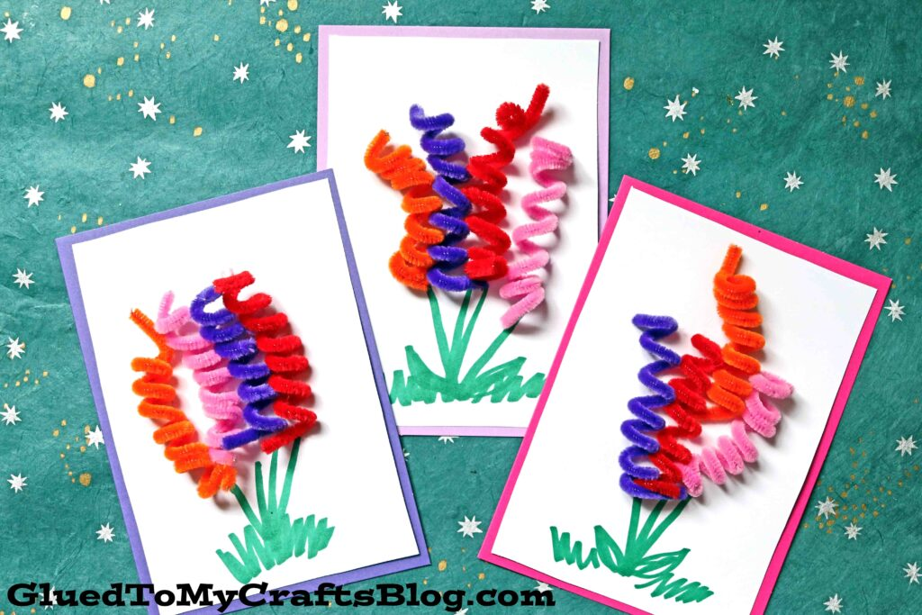 Pipe Cleaner Spring Flower Cards For Kids To Make For Mom