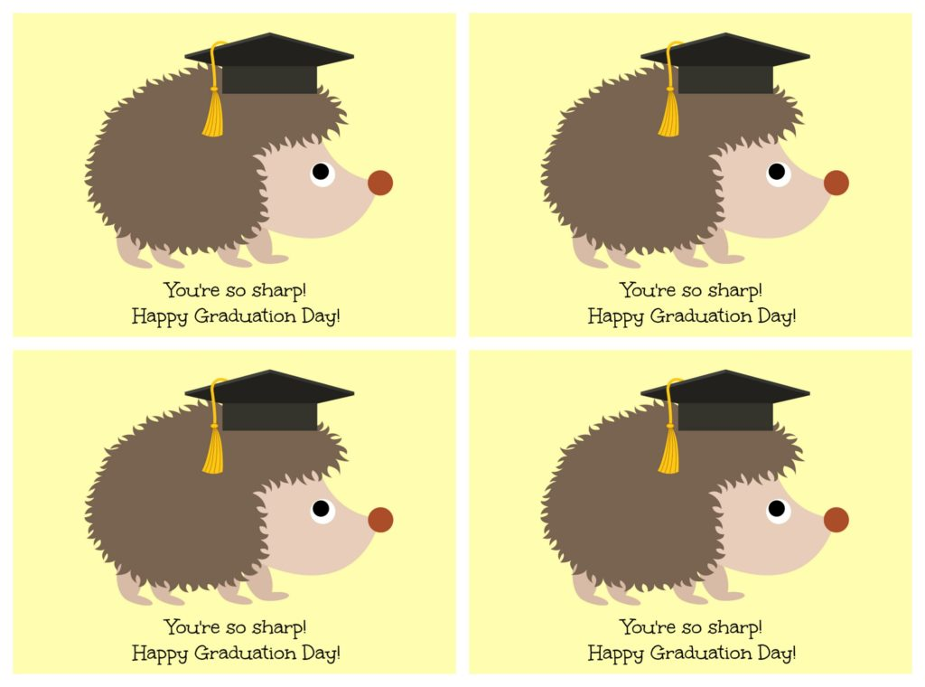 "Hedgehog ""Looking Sharp"" Graduation Card Printable"