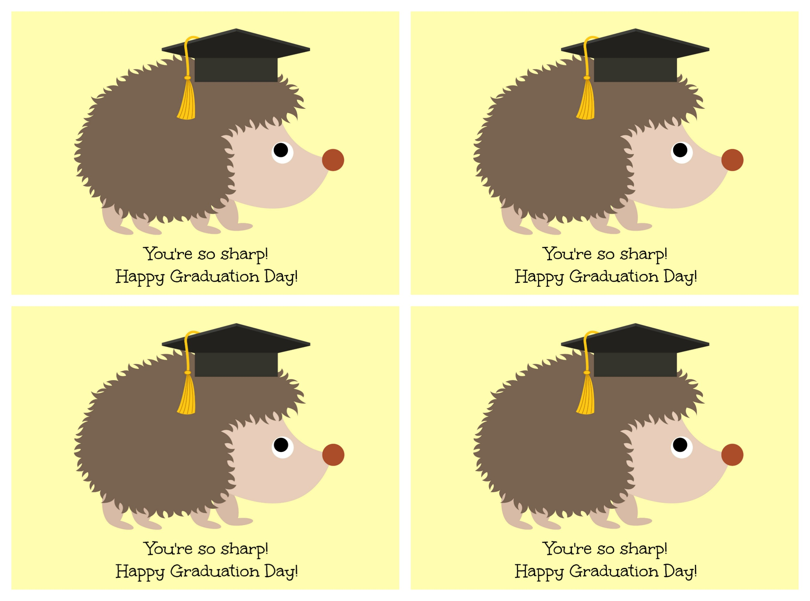 graphic relating to Printable Grad Cards called Hedgehog \