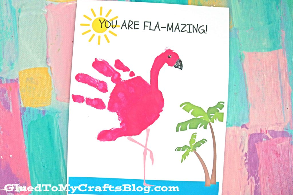 FLA-MAZING - Handprint Flamingo Keepsake Printable