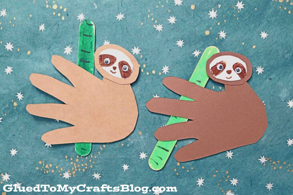 Paper Sloth on Popsicle Stick Bamboo - Kid Craft Idea