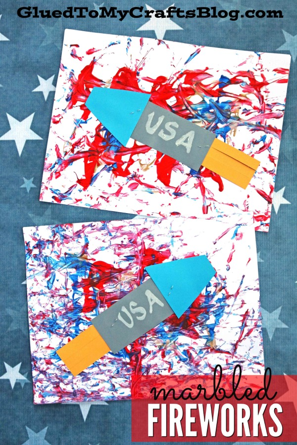 Paint Marbled Fireworks Scene - Patriotic Kid Craft Idea