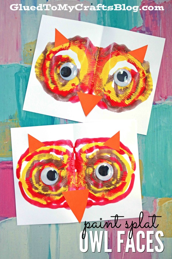 Paint Splat Owl Face On Paper - Kid Craft