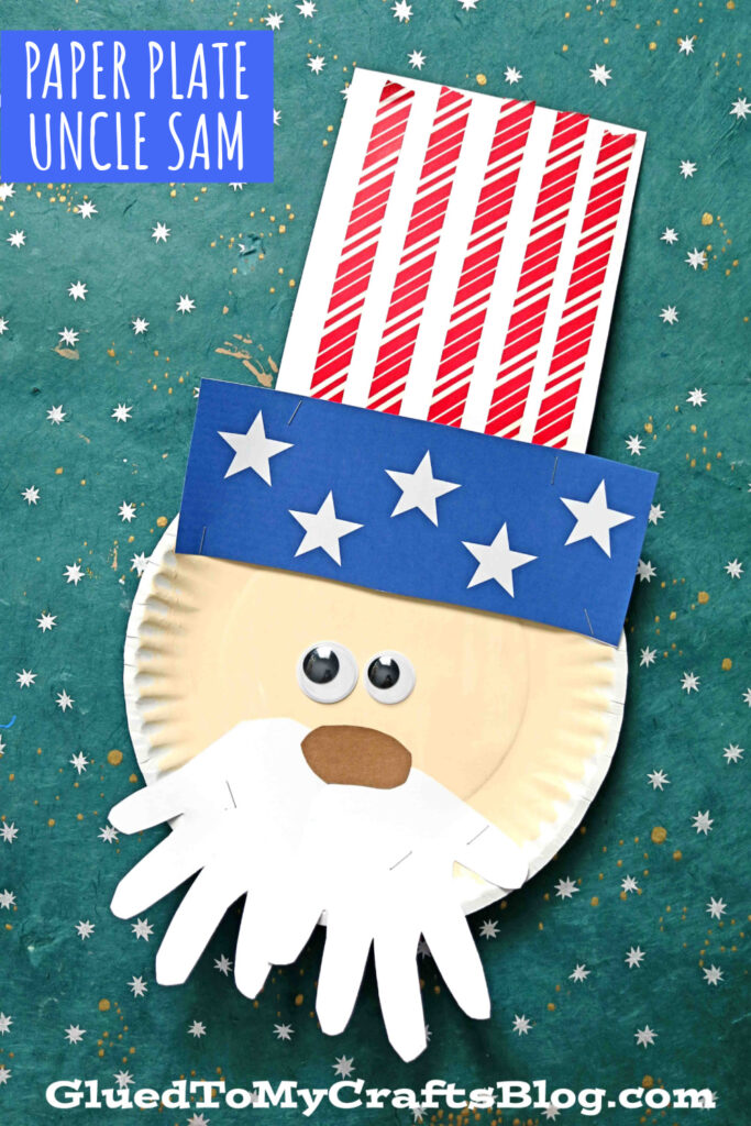 Paper Plate Uncle Sam w/ Washi Tape Hat - Kid Craft Idea