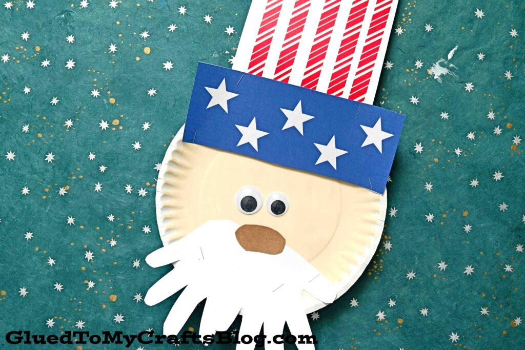 Paper Plate Uncle Sam w/Handprint Beard - Kid Craft Idea