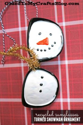 Recycled Sunglasses Turned Snowman Ornament