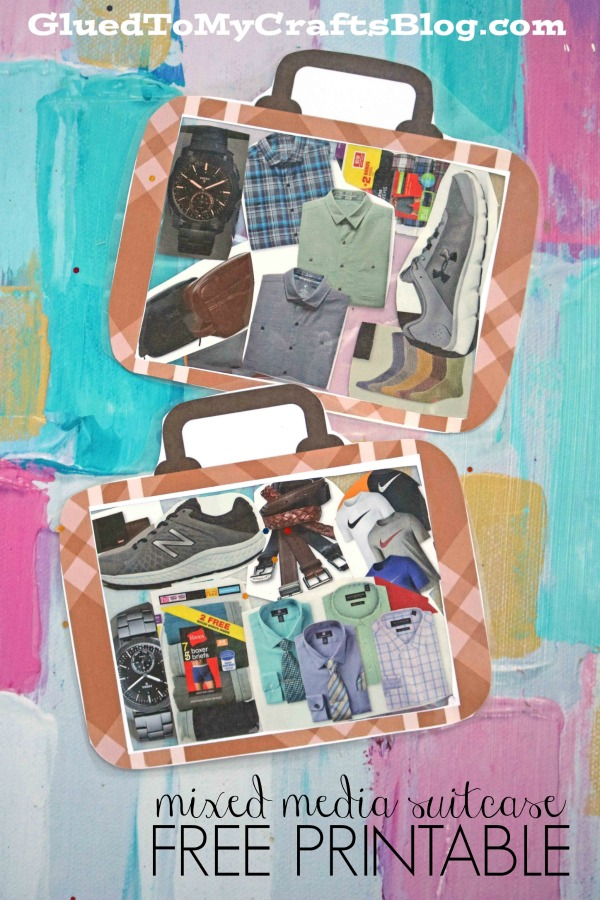 Mixed Media Suitcase - Recycled Grocery Flyer Kid Craft Idea
