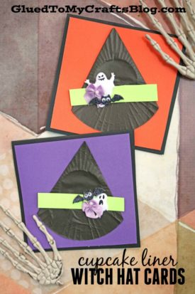Cupcake Liner Witch Hat Halloween Cards