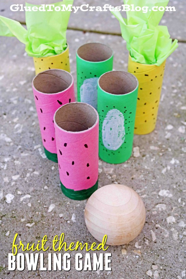 DIY Fruit Themed Bowling Game From Cardboard Tubes