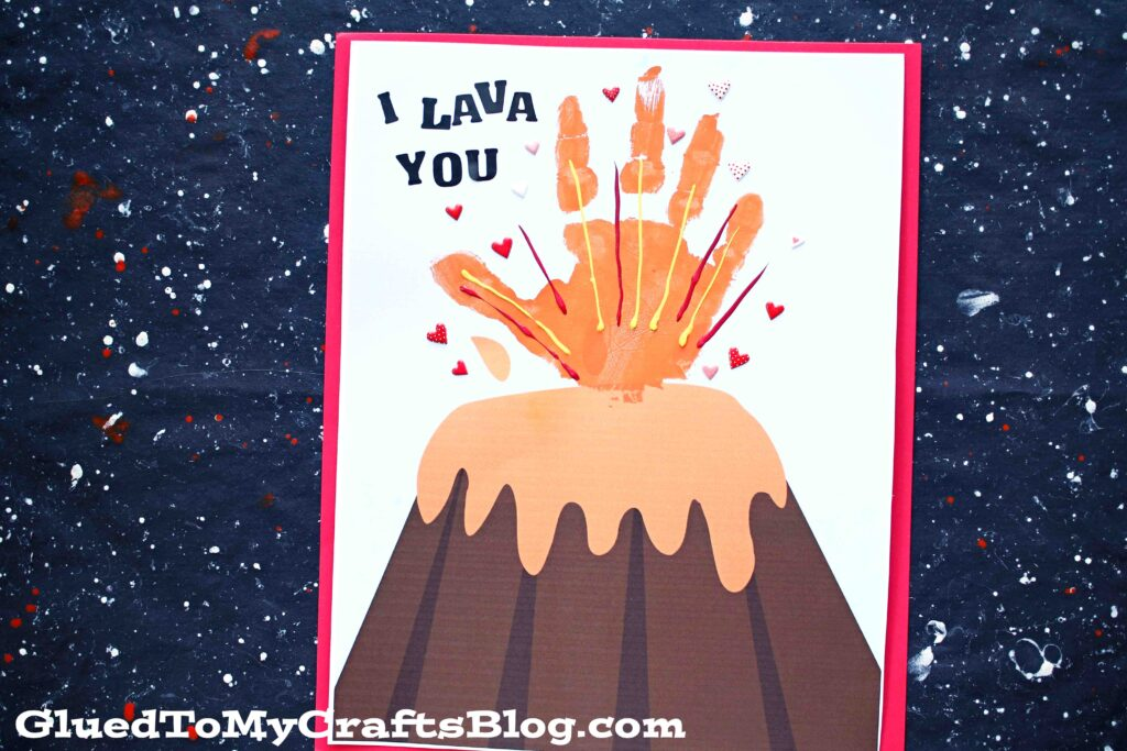 Lava You - Handprint Volcano Keepsake Printable